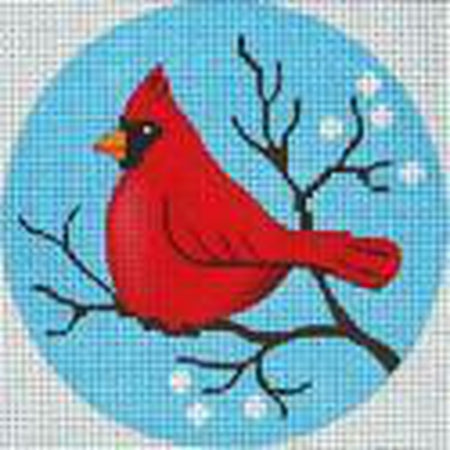 Cardinal Round Ornament Canvas - needlepoint