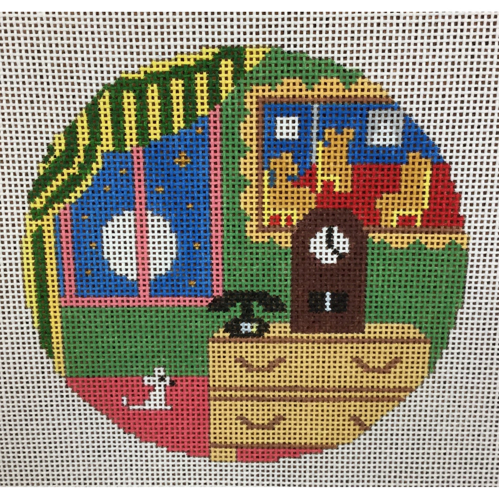 "Bears in Chairs 4 1/2"" Round Ornament Canvas - needlepoint"