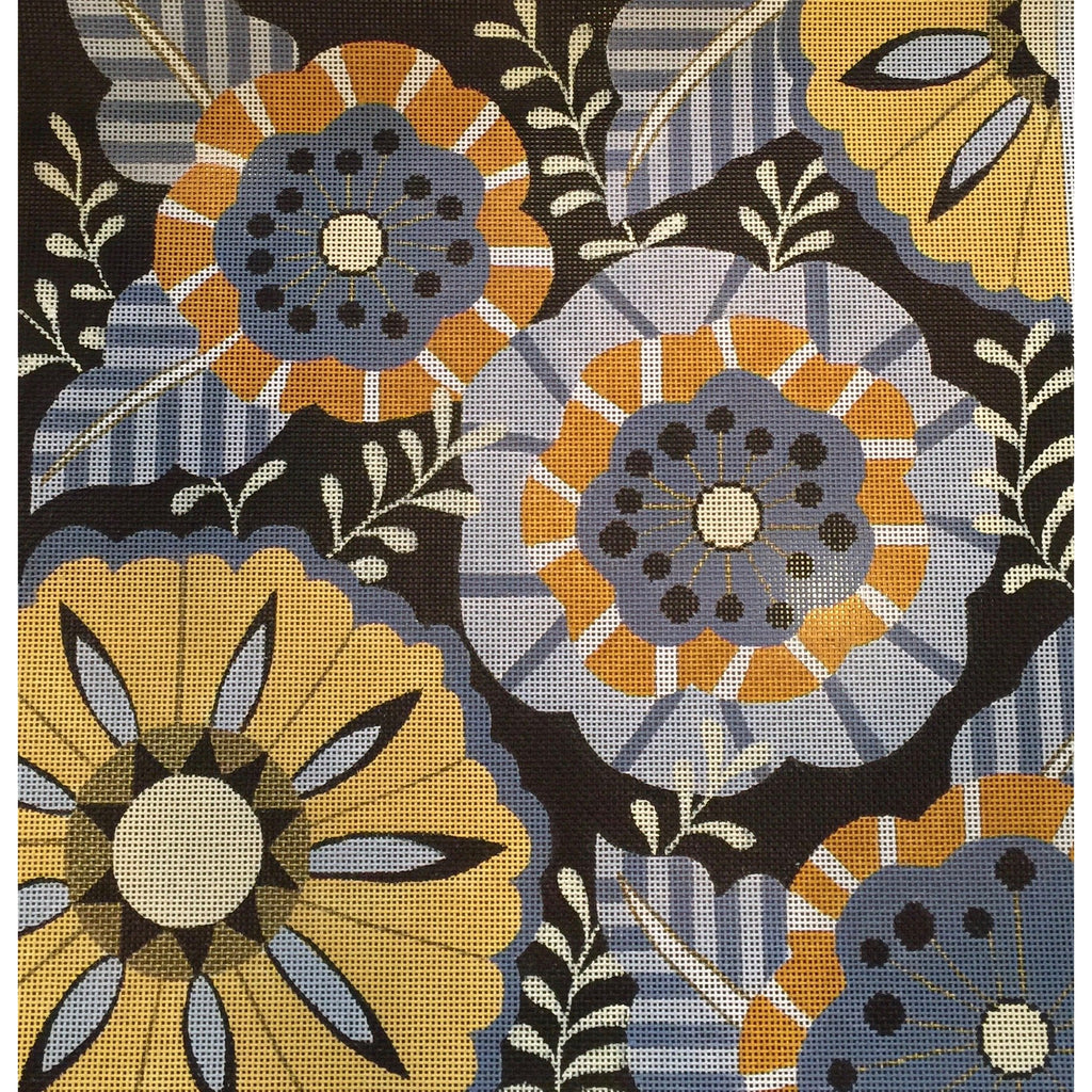 Black Mod Flowers Canvas