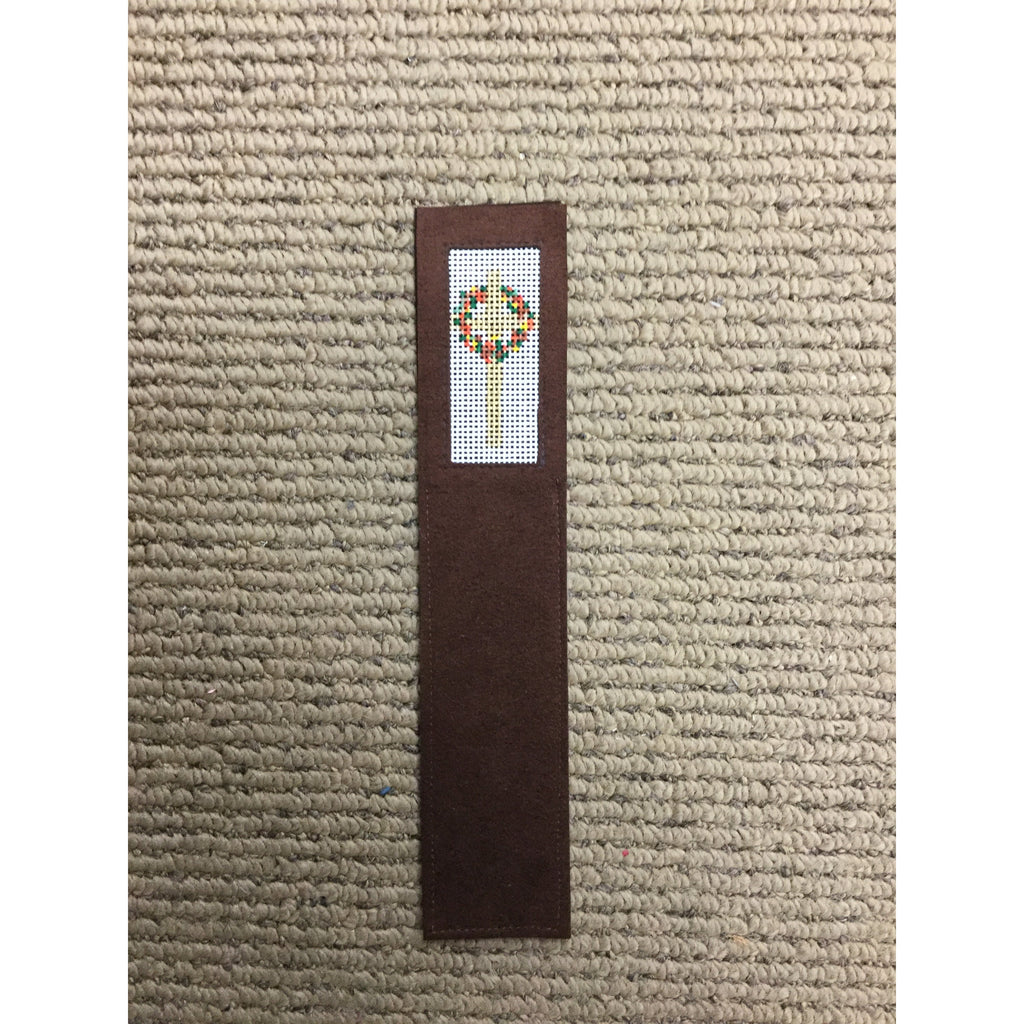 Cross with Wreath Bookmark - needlepoint