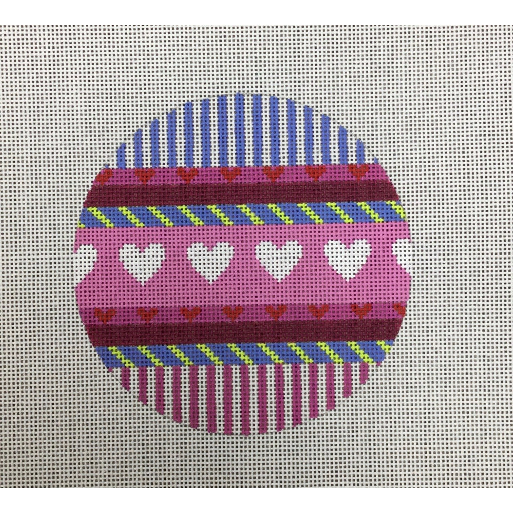 Hearts and Stripes Round Canvas - needlepoint
