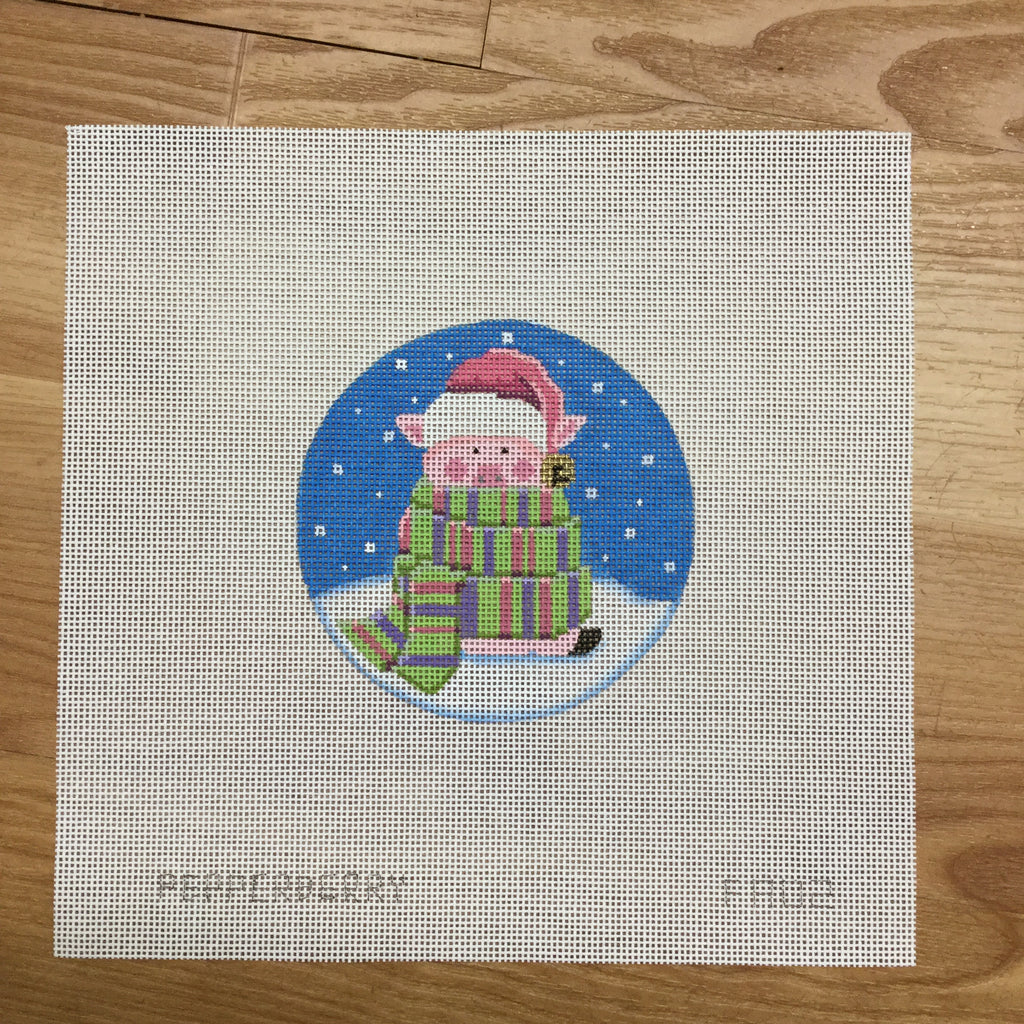 All Wrapped Up Pig Ornament Canvas