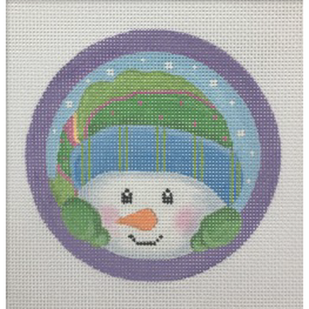 Peeking Snowman Ornament Canvas - needlepoint
