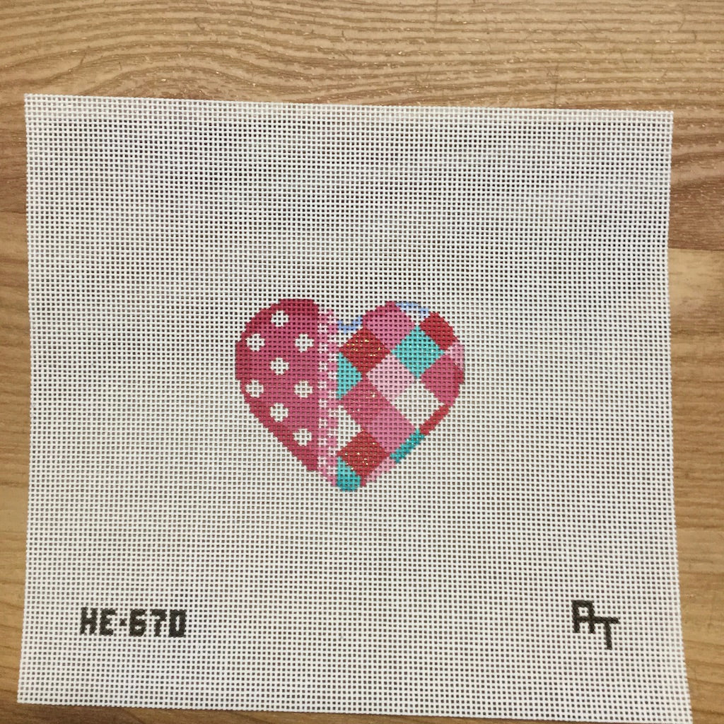 Harlequin and Dots Mini Heart Canvas