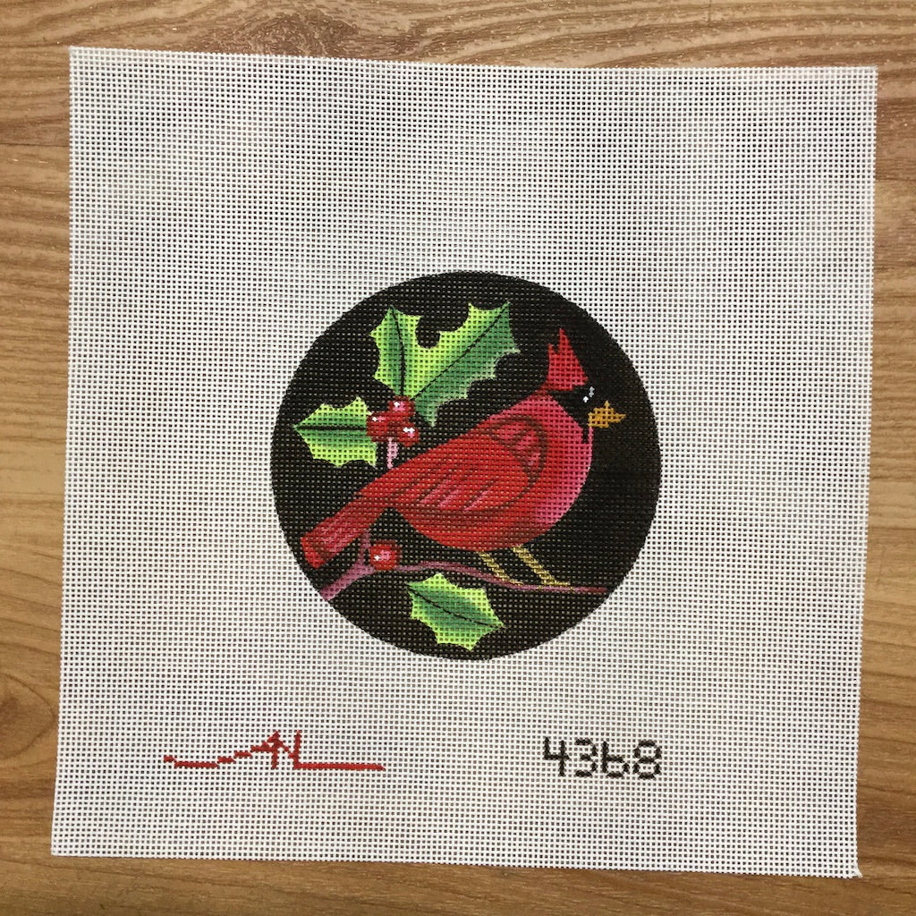 Cardinal on Black Round Canvas
