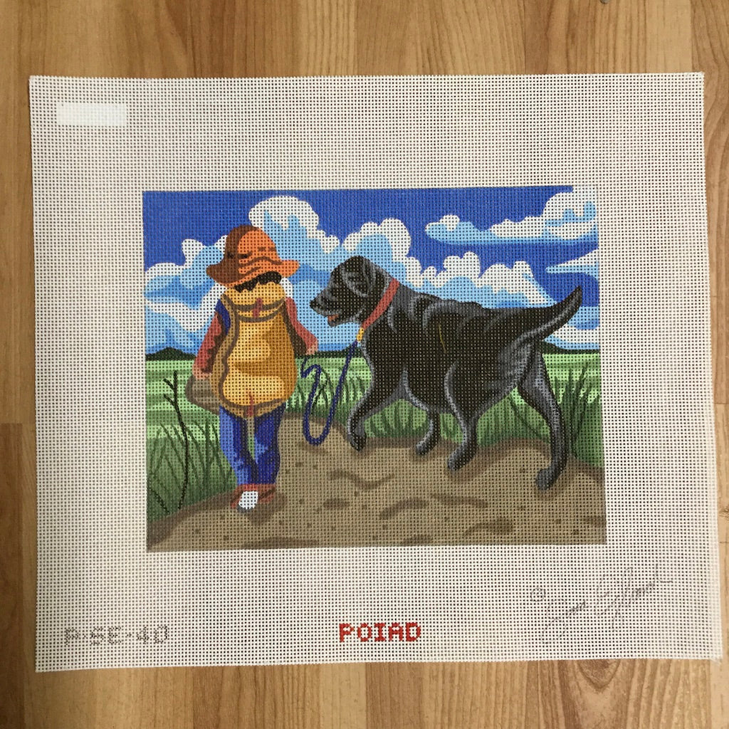 Boy in Field with Lab Canvas