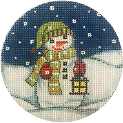Snowman with Lantern Canvas - needlepoint