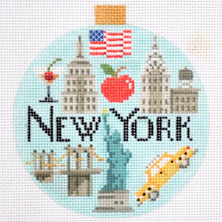New York Travel Round Needlepoint Canvas - needlepoint