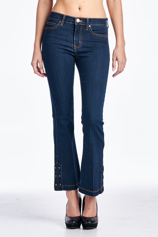 Angry Rabbit Bottom Detail Cropped Flare Jeans
