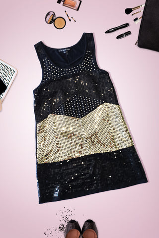 Black Gold Metallic Sequin Sleeveless Mini Dress