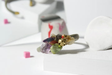 Handcrafted One-of-a-kind Cuff Bracelet in Khaki by Gré with Amethyst, Aventurine, Citrine, Quartz and Agate