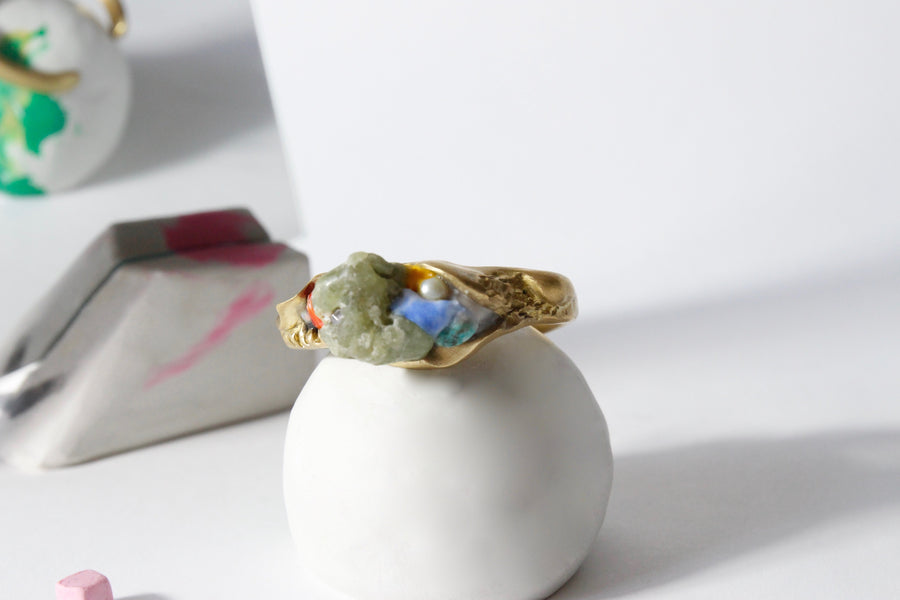 Handcrafted One-of-a-kind Cuff Bracelet in Brass by Gré with Prehnite and Turquoise
