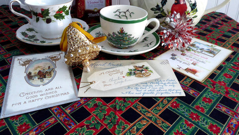 Antique Christmas Postcards Set Of 3 Embossed B B London 1914 Hard Times Greetings Poem - Antiques And Teacups - 1