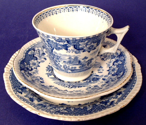 Teacup Trio Blue Transferware Seaforth Wood 1880s Ironstone Blue And White