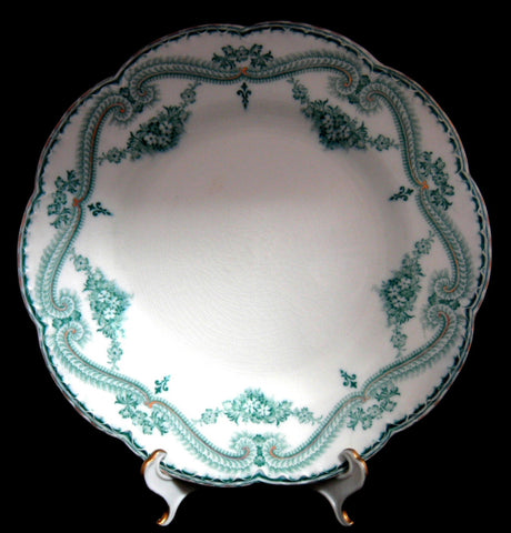 Teal Transferware Dinner Plate Regis Johnson Brothers 1890s Ironstone 8 Inch