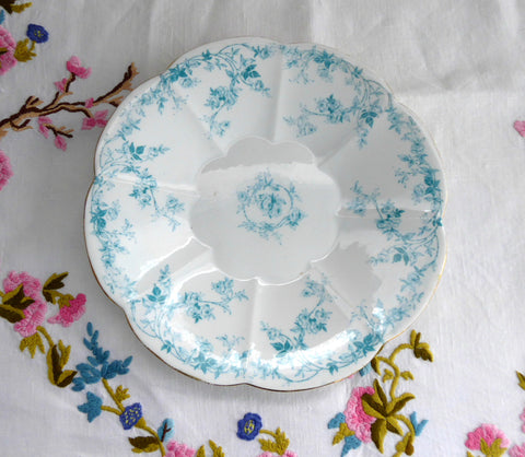 Shelley Edwardian Blue Rose Sprays Lily Serving Plate 1900 Rambling Rose Aqua