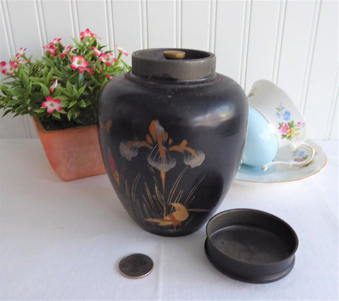 Vintage Hand Painted Tea Caddy Canister Japanese Lacquerware 1930s Interior lid Iris Bird