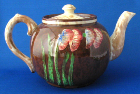 Teapot Sudlows Art Deco Impressionist Floral Large 1930s English Tea Pot
