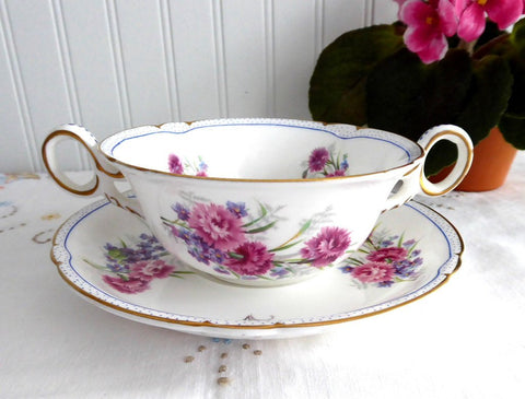 Shelley Carnation Cream Soup Cup and Saucer Large Double Handle Cup 1938