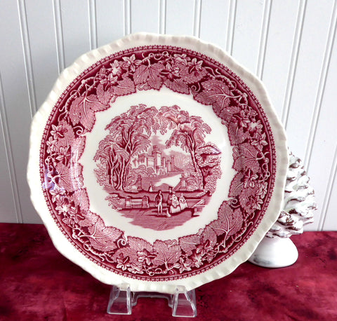 Vintage Mason's Vista Red Transferware Dinner Plate 1950s  Ironstone Made In England