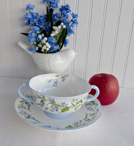 Shelley Dainty Harebell Cream Soup Cup and Saucer Large Double Handle Cup 1940s