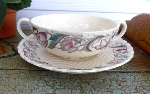 Vintage 1940s Susie Cooper Endon Ribbed Cream Soup And Saucer Liner Plate Burslem