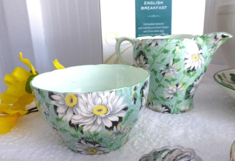 Shelley England Green Daisies Chintz Cream and Sugar Milk Afternoon Tea