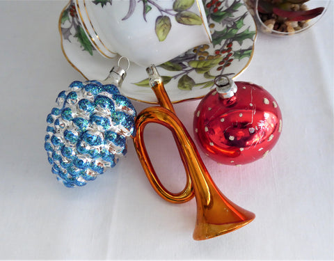 Trio Blown Glass Ornaments Pinecone Horn Polka Dot Ball Poland West Germany 1970s