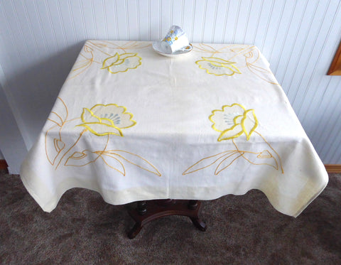 Yellow Embroidered Tablecloth 1960s Tea Cloth Bridge Cloth Table Cloth As Is