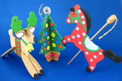 Wood Ornaments 3 D Reindeer Christmas Tree Carousel Horse 1970s Hand Made