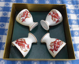 Eggcups Crown Staffordshire Rangoon Dragon Boxed Set Of 4 England 1970s Bone China