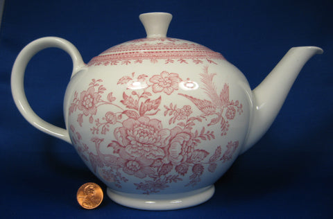 Asiatic Pheasants Red Pink Transferware Teapot Burleigh Large Ironstone 1970s