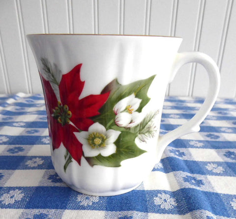 Christmas Poinsettia Mug Duchess England Bone China Christmas Holiday 1970s Christmas Tea
