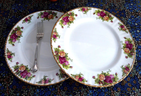 Vintage Pair Royal Albert Old Country Roses Dinner Plates 1970s English Made