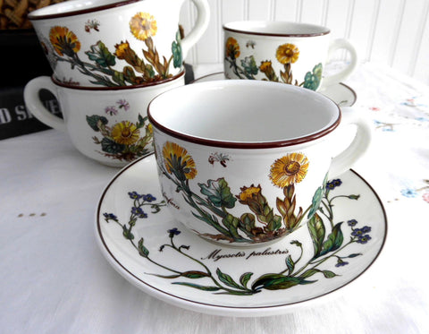 Villeroy And Boch Botanica 4 Cups And Saucers Botanical Names Stoneware 1980s