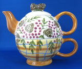 Pinecones Tea For One Teapot Fitted Cup By Danna Cullen 1980s Breakfast Cup