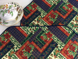 Christmas Faux Patchwork 2 Placemats 1990s Dinner Party Holiday Christmas Prints Gold Holly Stars