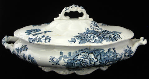 Transferware Victorian Tureen Antique English Floral 1870s TLC Shabby Ironstone