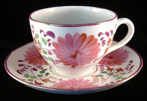Cup And Saucer Copper Luster Floral1920s Reissue Of 1870s Pattern Allertons - Antiques And Teacups - 1