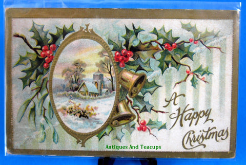A Happy Christmas Postcard Embossed Unused Holly Snow 1905 Snow Scene Holly Poem - Antiques And Teacups - 1