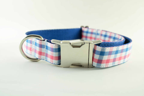 Red White and Blue Gingham Collar