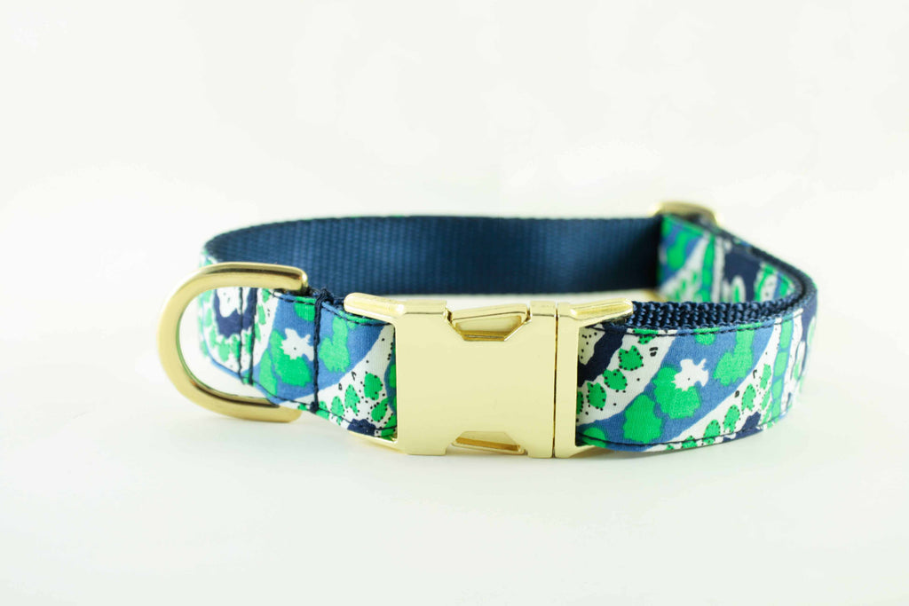 Navy and Green Paisley Collar