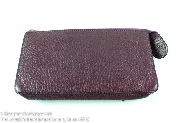 Mulberry Embroidered Egg Plant Wallet