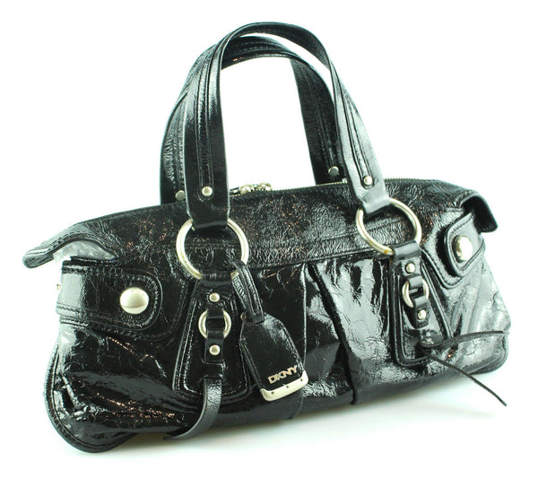 DKNY Black Crinkled Patent East West Tote