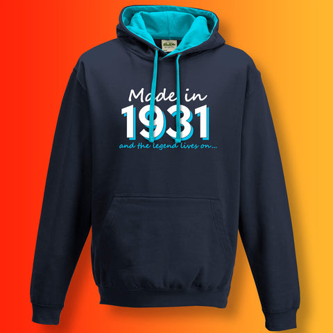 Made In 1931 and The Legend Lives On Unisex Contrast Hoodie