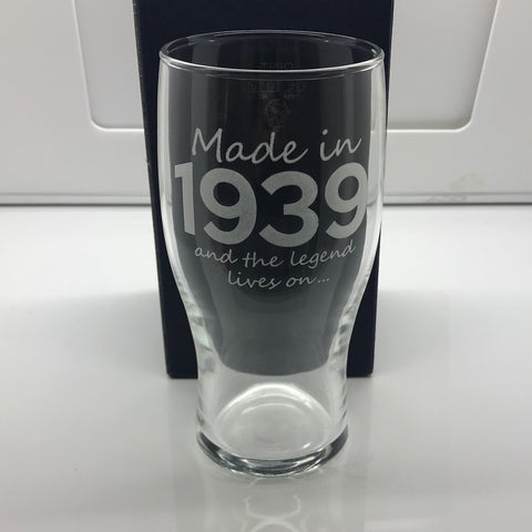 Made In 1939 and The Legend Lives on Engraved Beer Glass