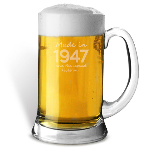 Made In 1947 and The Legend Lives On Glass Tankard