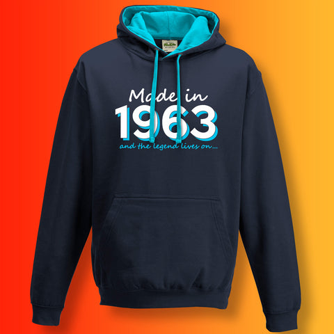 Made In 1963 and The Legend Lives On Unisex Contrast Hoodie