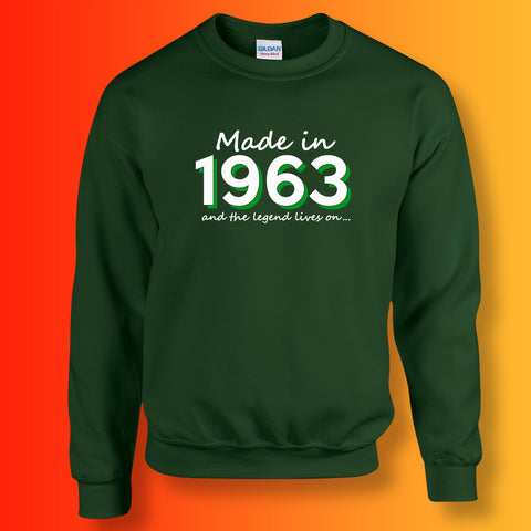 Made In 1963 and The Legend Lives On Sweater Bottle Green