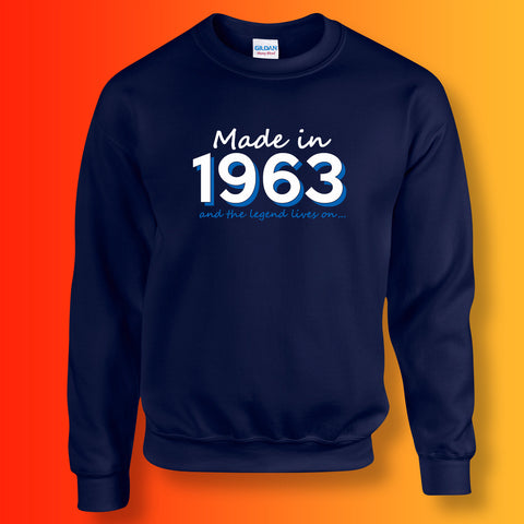 Made In 1963 and The Legend Lives On Sweater Navy